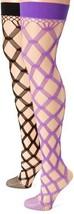 MUSIC LEGS Women's 2 Pack Multi Fence Net Thigh Hi, Black/Purple, One Size - $12.86