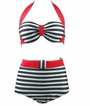 swimwear summer high waist bikini women swimsuit sexy bikinis push up striped - $24.99