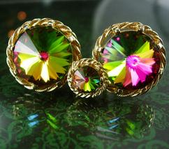 Vintage DANTE Glass cuff links and Tie Tack Rivoli Cufflinks pink blue yellow Sp - $135.00