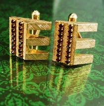 Rhinestone E Cuff links Monogrammed Cufflinks Vintage Initial E  Men's Ruby red  - $95.00