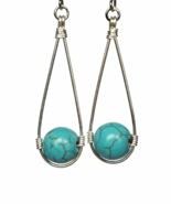 Turquoise Teardrop Wire Wrapped Dangling Earrings - $15.90+
