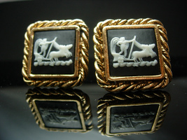 Hercules Mythology Cufflinks Vintage large Mythical cameo incolay Art cameo Cuff - $175.00