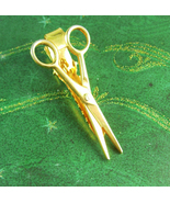 Vintage Barber Shears scissors Tie Clip Gold Hairdresser Beauty salon Ad... - $70.00