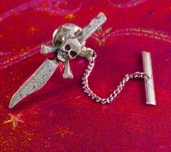 Vintage Skull tie tack Sword Scimitar dagger Fr... - $75.00