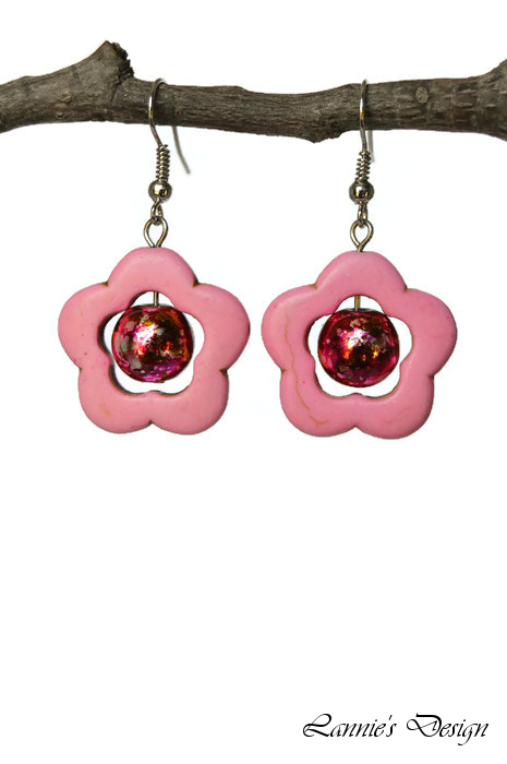 Pink Flower Dangling Earrings