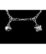 925 Sterling Silver Butterfly Bead Ball Anklet Chain Ankle - $20.00