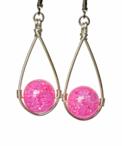 Light Pink Teardrop Wire Wrapped Dangling Earrings - $14.90+
