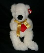 "14"" Vintage Ty 1998 Romeo White Teddy Bear I Love You Stuffed Animal Plush Toy - $23.38"