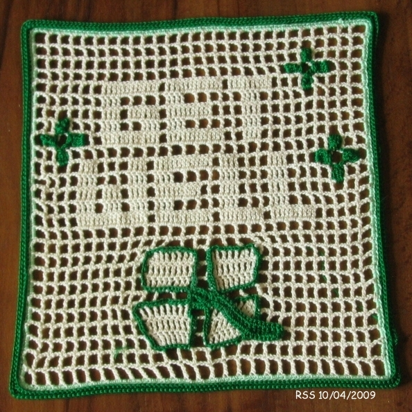 Get Well 4-Leaf Clover Greeting - Filet Crochet Art by RSS Designs In Fiber