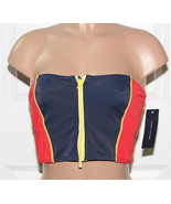 NEW Tommy Hilfiger Zipper Front Bandini Tank Top Swimwear Navy/Red XS XS... - $29.69