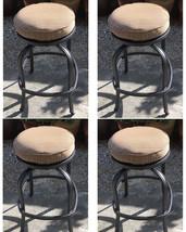 Patio Swivel Bar Stool with Cushion set of 4 outdoor cast aluminum furniture image 1