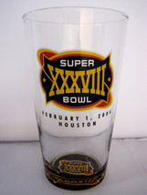 NFL Super Bowl 38 SB XXXVIII 2004 Commemorative Beer Juice Drink Glass Cup - $24.45