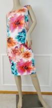 Eliza J  Floral Print Sheath Dress Sz 16 Pink Teal White Embellished $119 - $59.35