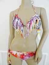 NWT Raisins Swimwear Fringe Bikini Swimsuit Sz M Medium Black Pink Ethni... - $29.65
