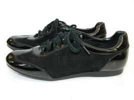 Cole Haan Sneaker Black Lace Up Shoes Suede Patent Leather New 6 - $34.60