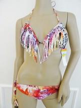 NWT Raisins Swimwear Fringe Bikini Swimsuit Sz S Small Black Pink Ethnic... - $29.65
