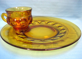 Indiana Kings Crown Thumb Print Amber Depression Glass Snack Set 3 Plate... - $39.95