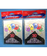 30th Birthday Party Invitations Paper Art Balloon Design 16 Cards & Enve... - $9.75