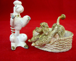 Poodle Dogs Vintage Metal Florenza Pin Cushion & Pen Holder Rhinestone E... - $58.95