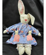 Primitive Bunny Rabbit Stuffed Easter Mom Babies Dress Pantaloons Puff Tail - $24.99