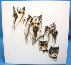 Laura Rogers Yorkie Yorkshire Terrier Dog Puppy 1995 Ceramic Tile Picture - $29.65
