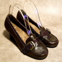 "Aerosoles Womens Marianne Sz 7.5 M Brown Leather Slip On Buckle 2.5"" Pumps - $27.99"