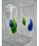 Vase Hand Blown Clear Blue Green Square Shaped  Art Glass Flower Bud - $37.19
