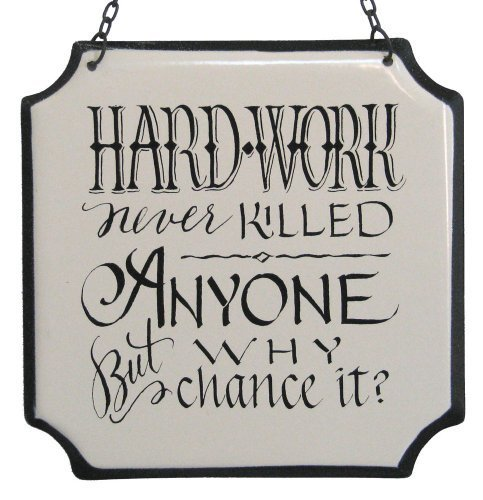 "America Retold White Enamel Sign, Hard Work, 6"" [Kitchen]"