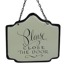 "America Retold White Enamel Sign Please Close the Door 6"" X 6"" [Kitchen]"
