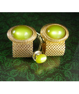 Hauntingly Beautiful cuff links Tie Tack Olivine green Vintage  gold mes... - $125.00