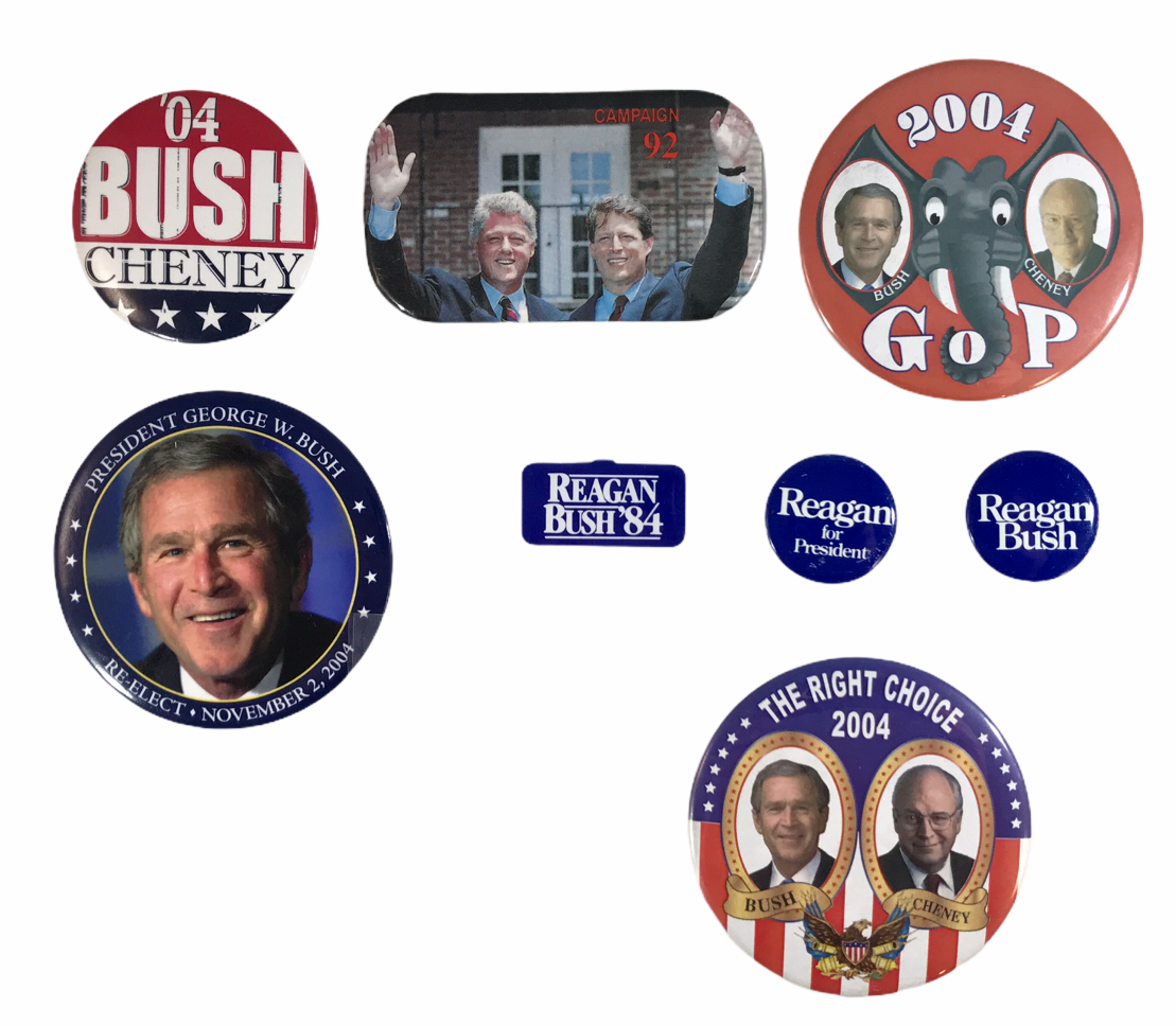 Primary image for Lot of 8 Presidental Political Buttons Bush Cheney Clinton Gore Reagan 1984-2004