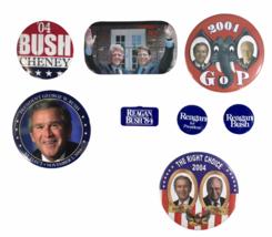 Lot of 8 Presidental Political Buttons Bush Cheney Clinton Gore Reagan 1... - $59.39