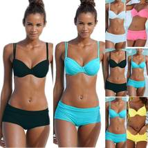 Womens Padded Bikini Set Boy Shorts Swimwear Bathing Suit Swimsuit Beachwear image 2