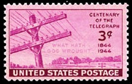 1944 3c Telegraph Centennial Scott 924 Mint F/VF NH - $0.99