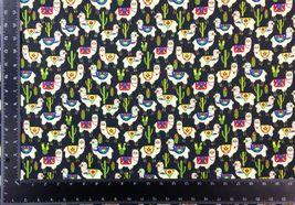 Llama Cacti Multi Black 100% Cotton High Quality Fabric Material 3 Sizes image 4