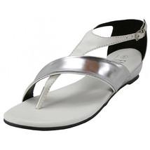 Women's Low Wedge T Strap Sandals Metallic Mirror Silver Accent Black Wh... - $21.98