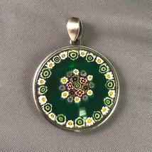 Handmade Murano Millefiori Mosaic Flower Green Round Glass Pendant 35mm - $72.57