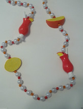 Lemon Orange Fruit Tropical Drink Glass Pearl Luau Mardi Gras Bead Necklace - $3.79