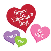 Candy Hearts Valentines Day 12 inch 3 Ct Cutouts Paper Party - $3.79