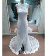 Halter Bridal Dresses with Lace Flowers - Dariu... - $900.00