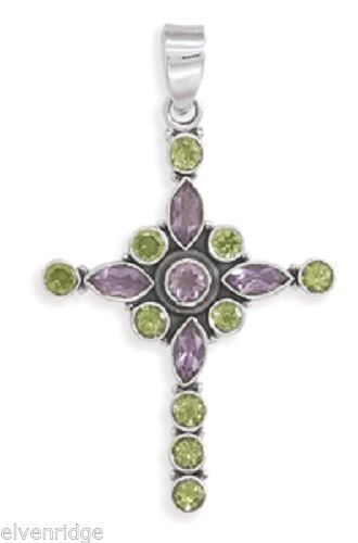 Amethyst and Peridot Cross Pendant Sterling Silver