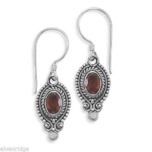 Oval Faceted Garnet Oxidized Edge Earrings on French Wire Sterling Silver