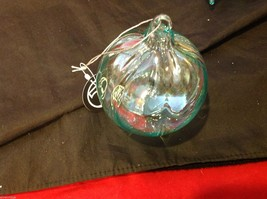 One Large Glass Ornament clear teal iridescence department 56 in various... - $24.74
