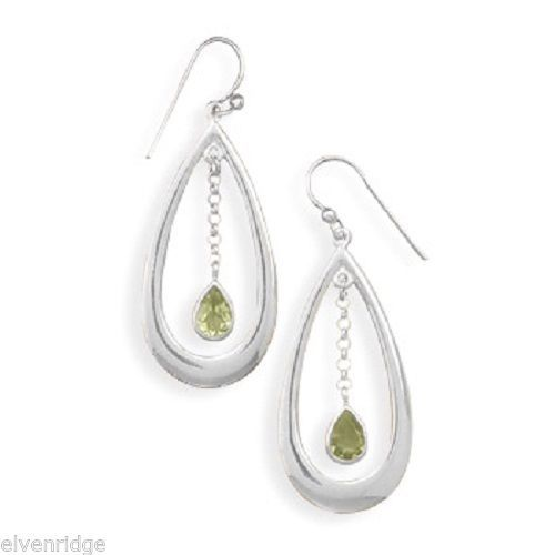 Polished Cut Out Earrings with Peridot Drop Sterling Silver