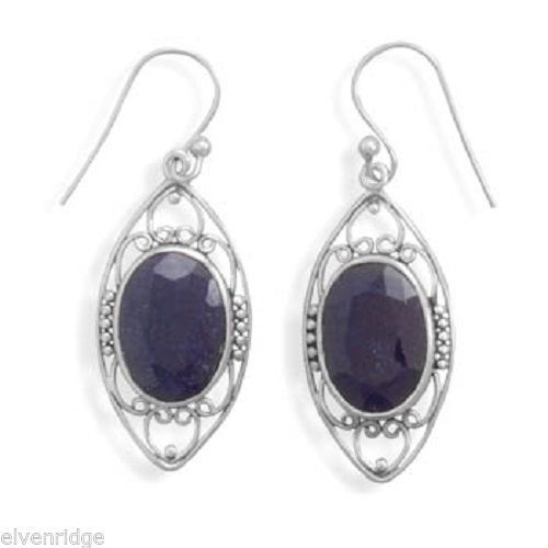 Polished Rough-Cut Sapphire French Wire Earrings Sterling Silver