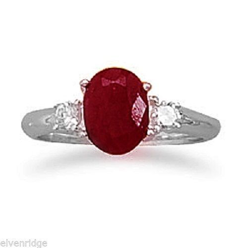 Rough-Cut Ruby and CZ Ring Sterling Silver