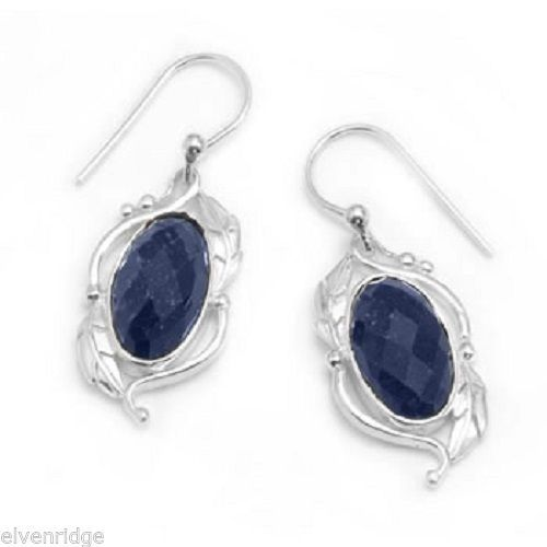 Oval Rough-Cut Sapphire Earrings Sterling Silver
