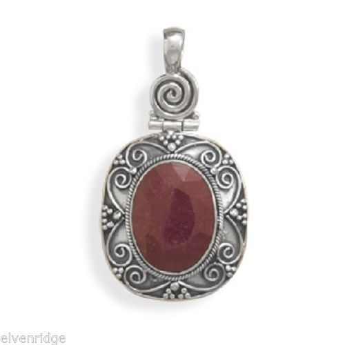 Oxidized Oval Rough-Cut Ruby Pendant Sterling Silver