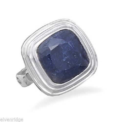 Square Faceted Rough-Cut Sapphire Ring Sterling Silver
