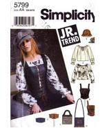 2002 Teen's BLOUSE, CORSET, HATS Simplicity Pattern 5799 Jr Sizes 3/4-9/10 UNCUT - $10.00